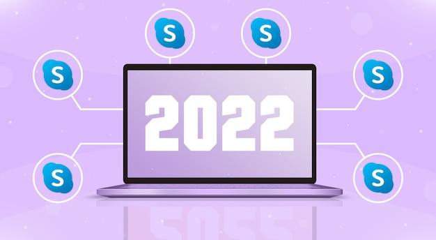 Laptop con 2022 en la pantalla y skype iconos en 3d