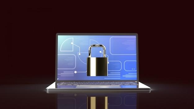 Laptop y llave maestra para contenido de seguridad informática