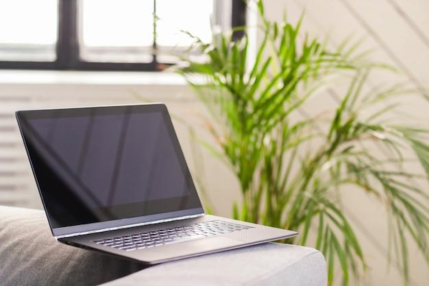Laptop en sofá