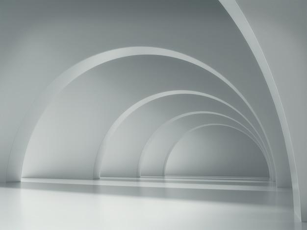 Largo corredor blanco con luces y sombras.