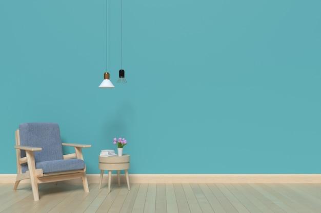 Las paredes de la sala de estar azul dentro de una butaca y una lámpara, representación 3d