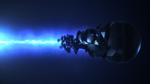 El láser azul destruye la representación 3d de la esfera
