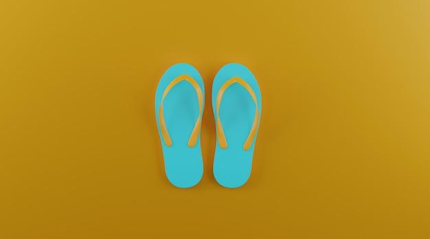 Lat lay flip-flops con espacio de copia.