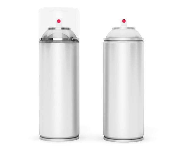 Lata de aerosol de aluminio en blanco sobre un fondo blanco.