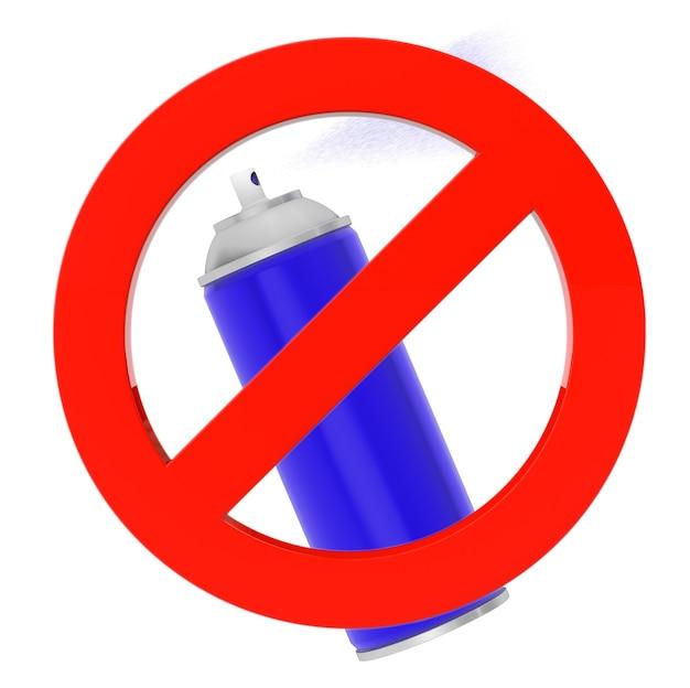 Lata de aerosol azul con señal de prohibición sobre un fondo blanco.