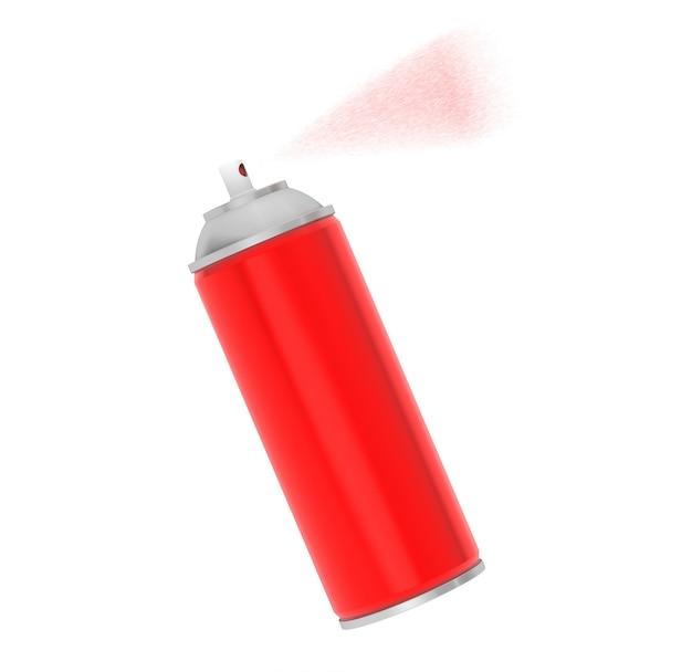 Lata de aerosol rojo de aluminio en blanco sobre un fondo blanco.