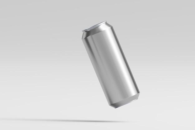 Lata de aluminio sobre fondo blanco 3d render