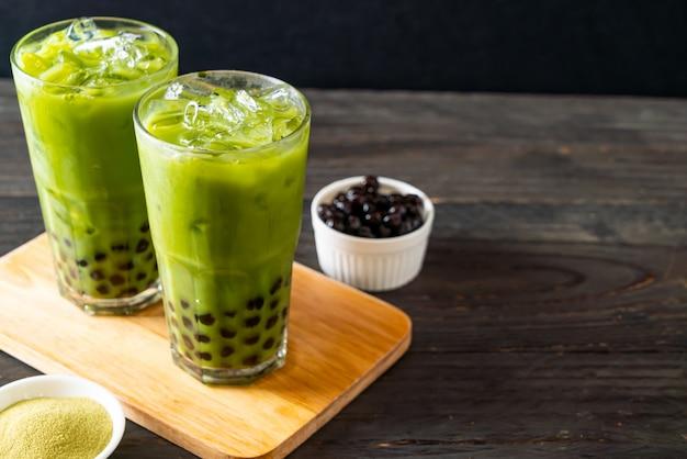 Latte de té verde con burbuja