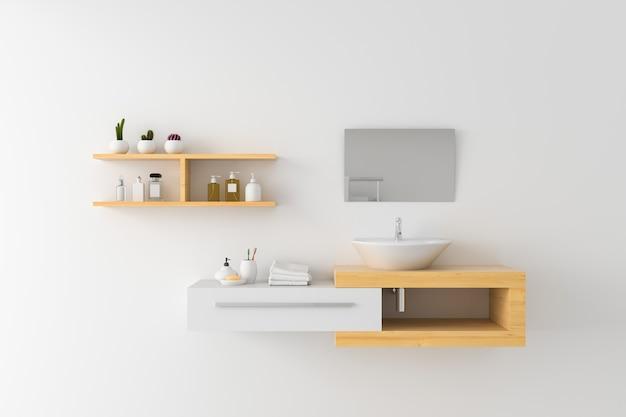 Lavabo blanco en estante de madera y espejo en pared