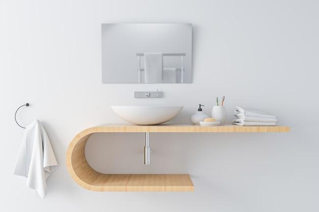 Lavabo blanco en estante de madera