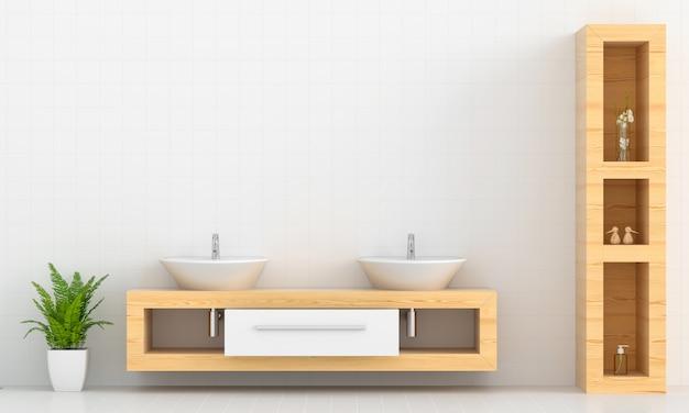 Lavabo sobre estante de madera