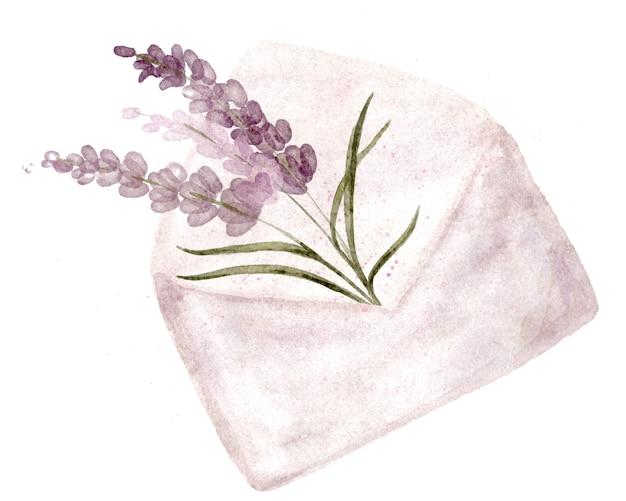 Lavanda en un sobre de correo abierto. arreglo floral para pegatinas. dibujar a mano ilustración botánica de elementos vegetales.