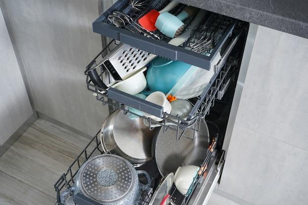 Lavavajillas, abierto y cargado de platos en la cocina.