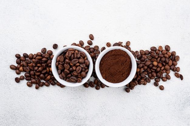 Lay flat de concepto de café con espacio de copia
