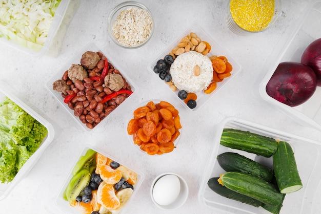 Lay flat del concepto de comida deliciosa
