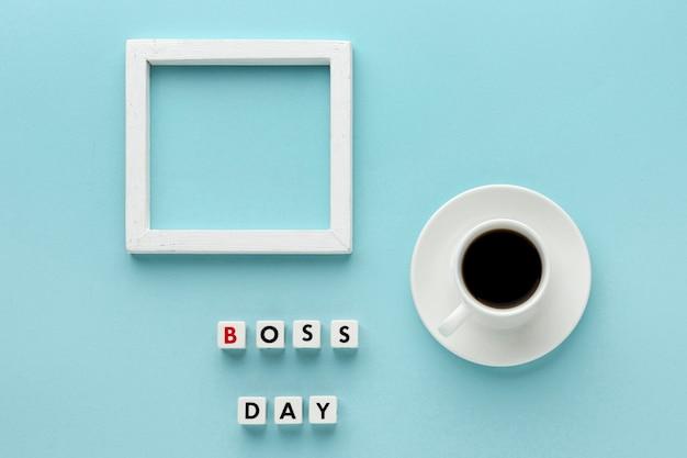 Lay flat del concepto del día del jefe con espacio de copia