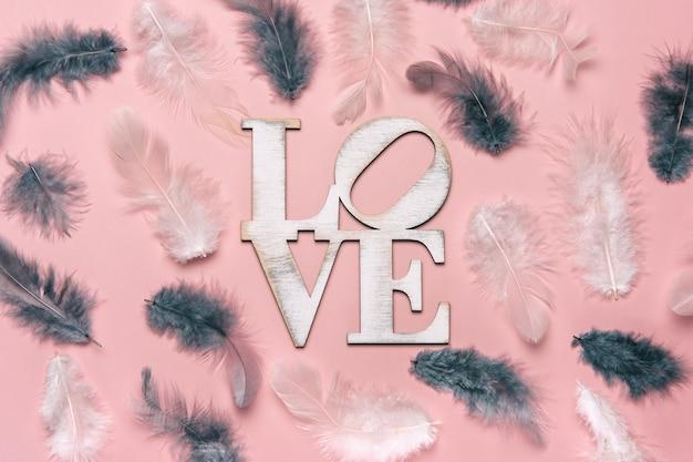 Lay flat creativo de la palabra amor sobre fondo de color suave con pluma natural.