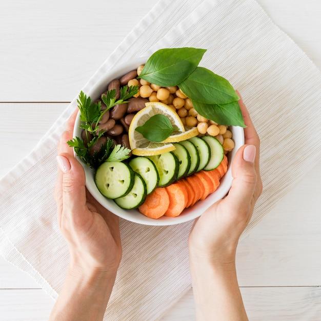 Lay flat del delicioso concepto de comida sana