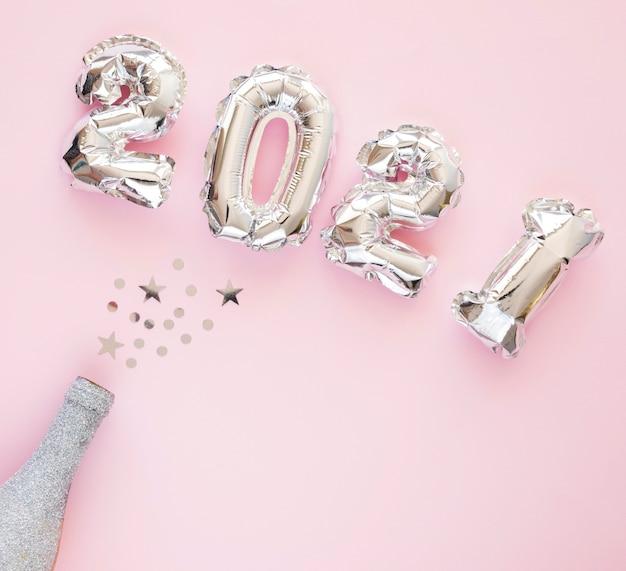 Lay flat del hermoso concepto de año nuevo