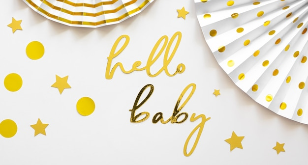 Lay flat del hermoso concepto de baby shower