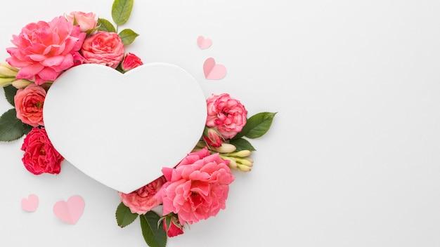 Lay flat del hermoso concepto del día de san valentín