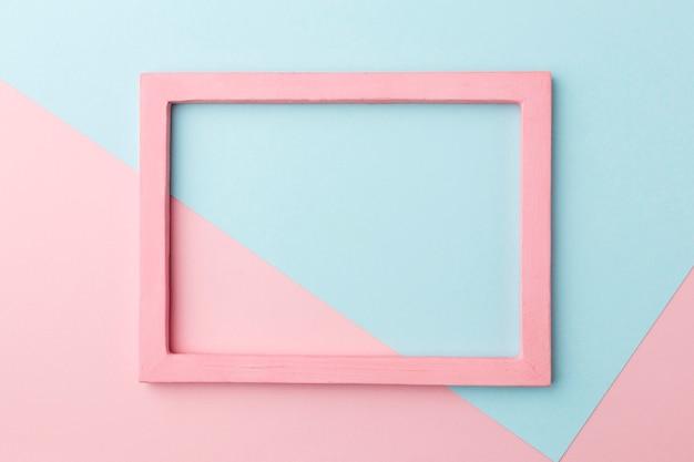 Lay flat de hermoso concepto de marco de madera rosa