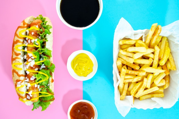 Lay flat de menú de comida rápida
