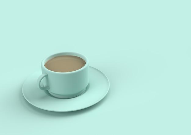 Leche del café en color en colores pastel del cielo azul con el espacio de la copia para su texto. concepto mínimo de render 3d
