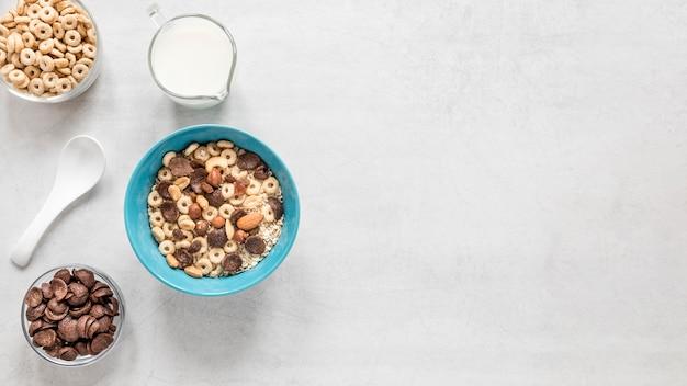 Leche y cereales con espacio de copia