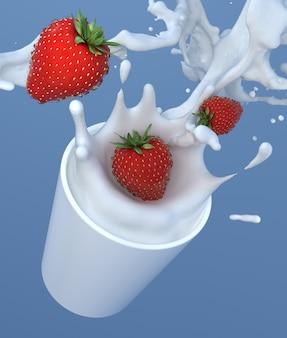 Leche de fresa en taza splash gotas de chocolate blanco con leche