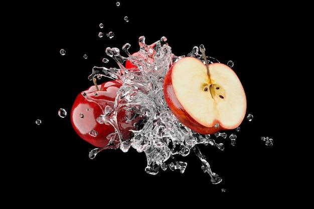 Leche con manzana roja sobre fondo azul 3d render