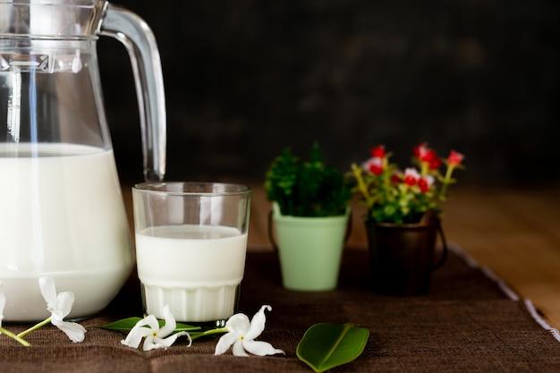 Leche productos lácteos saludables en la mesa
