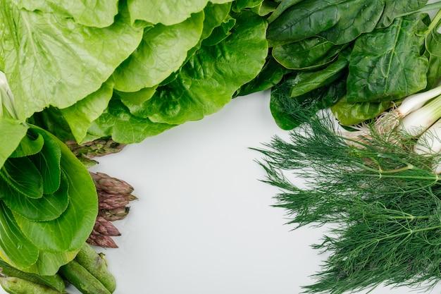 Lechuga con espinacas, espárragos, acedera, cebollas verdes y vainas, eneldo vista de ángulo alto en una pared blanca