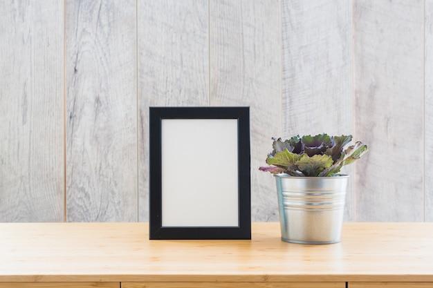 Lechuga de hoja de roble rojo en una olla con un marco de imagen vacío en la mesa