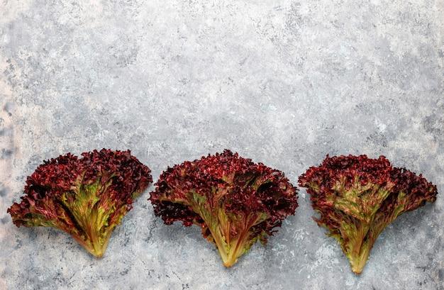 Lechuga roja fresca en mesa de hormigón gris, vista superior