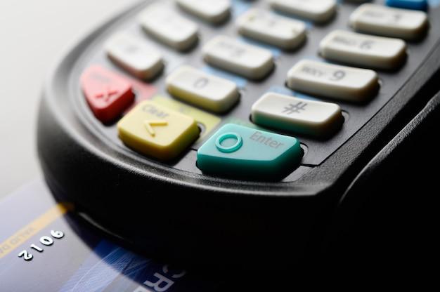Lector de tarjetas de crédito, enfoque selectivo