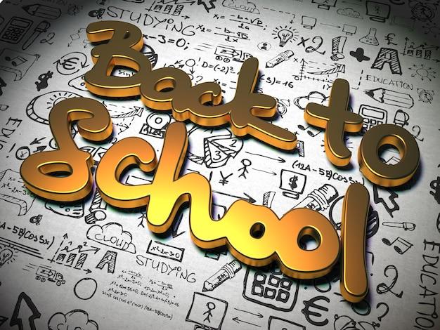 Lema de regreso a la escuela hecho de metal sobre fondo con caracteres escritos a mano