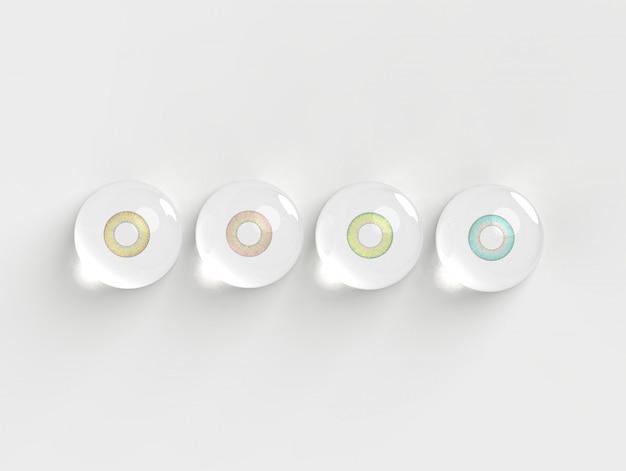 La lente de contacto en burbujas del agua en el fondo blanco 3d rinde