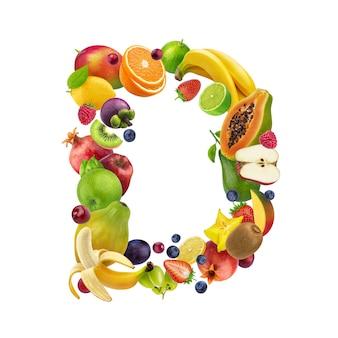 Letra d hecha de diferentes frutas y bayas.