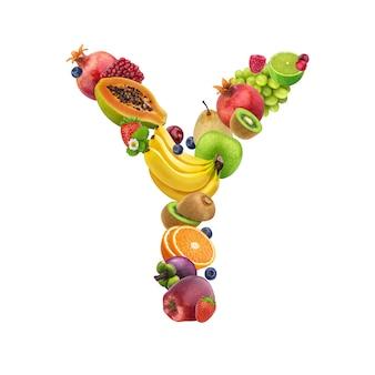 Letra a de diferentes frutas y bayas.