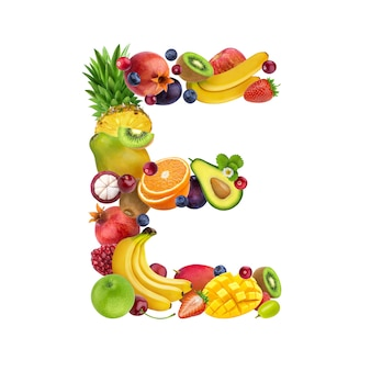 Letra e de diferentes frutas y bayas.