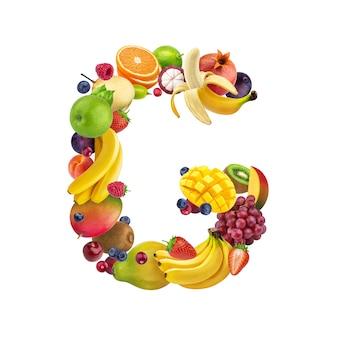 Letra g de diferentes frutas y bayas.