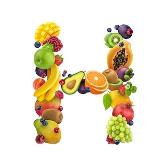 Letra - h de diferentes frutas y bayas.