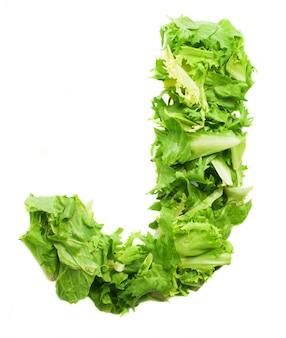 Letra j hecha con deliciosa verdura