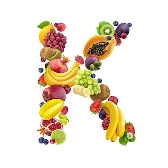 Letra k de diferentes frutas y bayas.