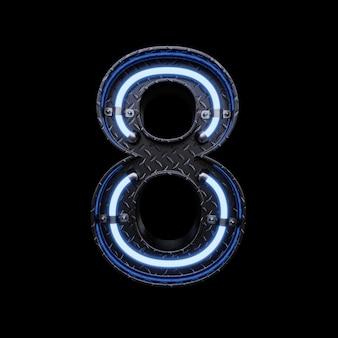 Letra de luz de neón 8 con luces de neón azules.