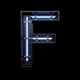 Letra de luz de neón f con luces de neón azules.