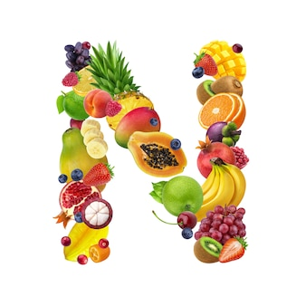 Letra n de diferentes frutas y bayas.