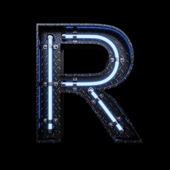 Letra r de luz de neón con luces de neón azules.