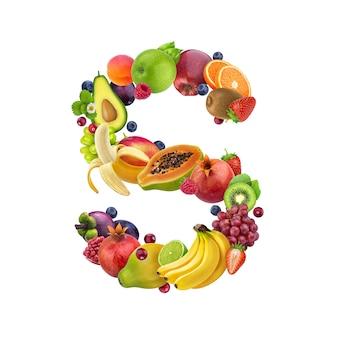 Letra s de diferentes frutas y bayas.